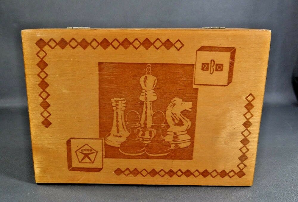 Vintage Soviet Russian Chessmen Chess Game Pieces Wooden Storage Box Hinged Lid