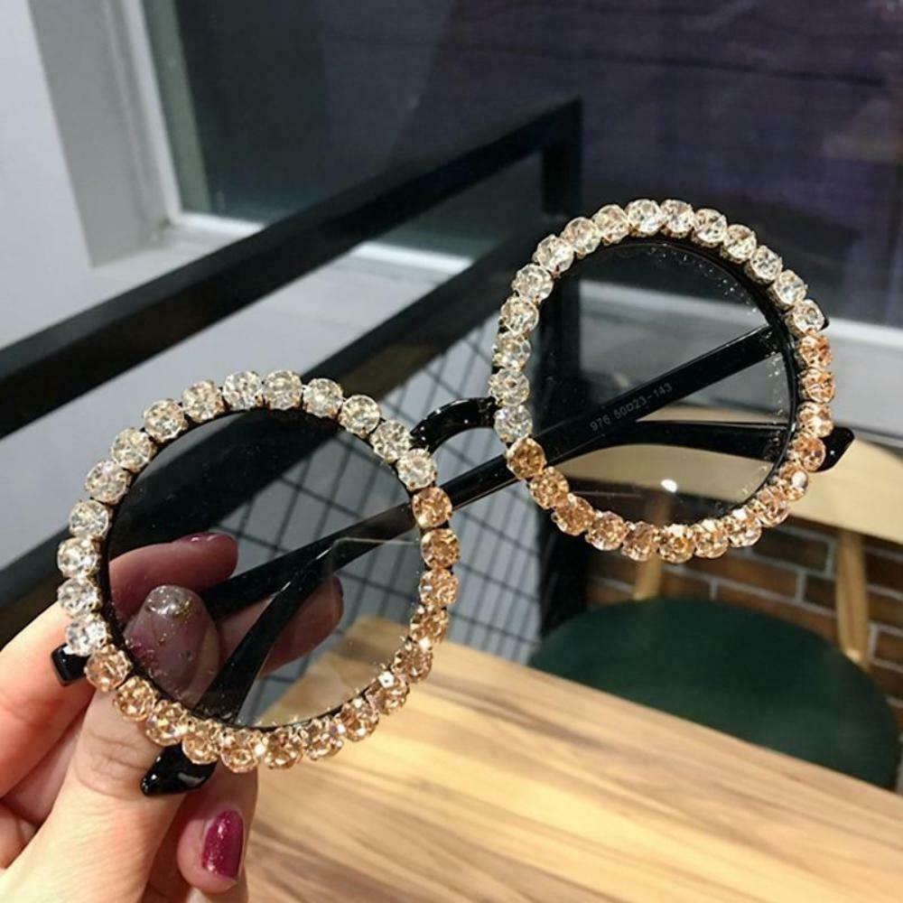 2019 Round Sunglasses Women Vintage Black Crystal Mix Rhinestone Sun Glasses for