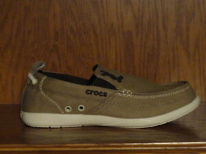 77c2e1cb2 New! Mens CROCS WALU DISNEY MICKEY MOUSE CANVAS SLIP-ON Shoes KHAKI ...
