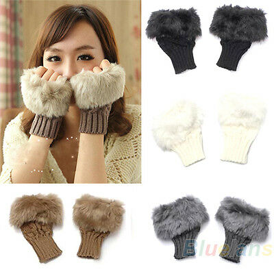 Womens New Popular Faux Rabbit Fur Hand Wrist Warmer Winter Fingerless Gloves