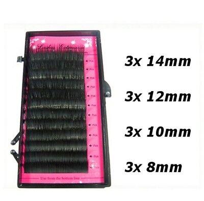 Mix Size Tray Individual Mink False Fake Eyelashes Lashes Extensions Semi Perm