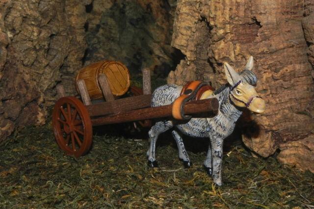 Wagon Cart with Donkey and Barrel Nativity Village Presepio Diorama