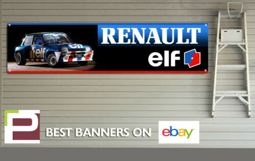 Renault 5 Garage Banner for Workshop Garage Retro Rally Team Elf XL Banner