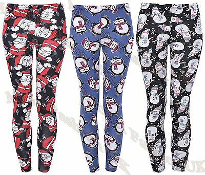 Christmas Penguin Reindeer Snowman Print Full Length Leggings Buttery Soft