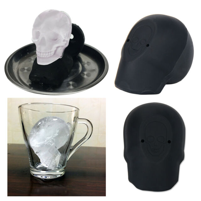 3D Big Skull Shape Mold Ice Cube Maker Bar Party Silicone Trays Chocolate Moulds