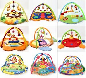 Fun Animal Baby Infant Gym Play Mat Indoor Floor Crawl Soft Blanket Mat With Toy