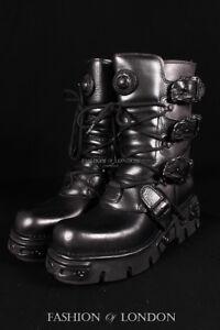 NEWROCK NEW ROCK 391-S18 BLACK METALLIC REACTOR GOTH LEATHER BOOT BIKER BOOTS