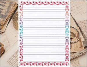 multi color border design lined stationery writing set 25 sheets