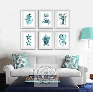 Details about Turquoise Living Room Decor Wall Art set of 6 Unframed  Sealife art prints