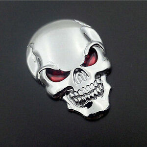 3D-Metal-Skull-Bone-Auto-Emblem-Badge-Decal-Sticker-Motorcycle-Car-Decor-Silver