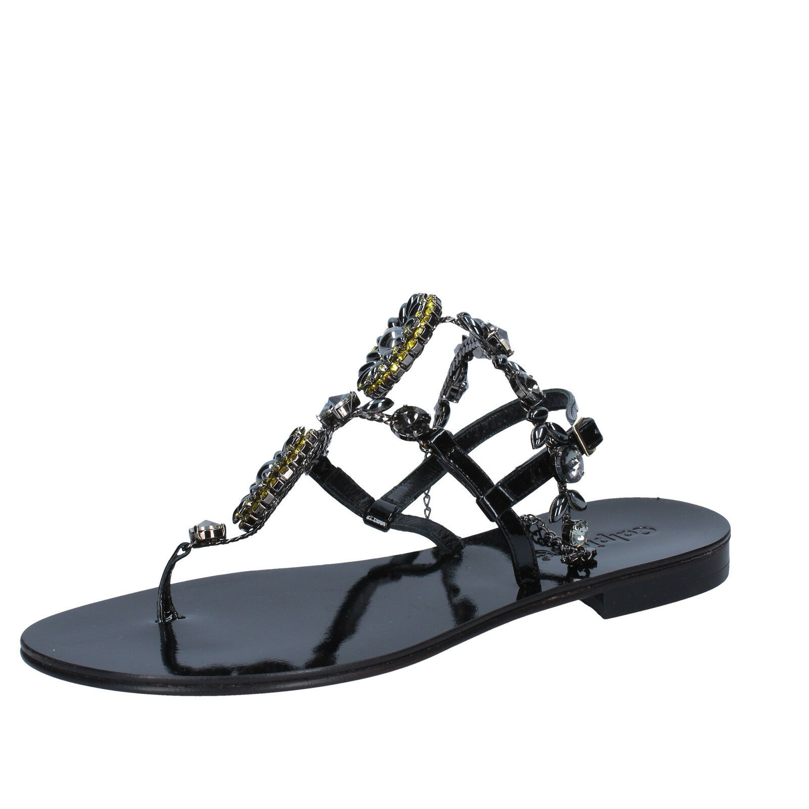 Scarpe donna CALPIERRE 38 EU sandali nero vernice BZ877-C