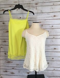 0b9fcf90a68a09 Maurice s Tank Tops(Lot of 2)Womens M Cream Lime Green Lace Stretch ...