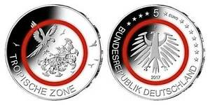5 X 5 Euro Münze Tropische Zone 2017 Satz A D F G J Bfr Komplett Ebay