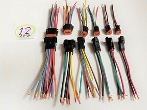 "12 AWG Negro Deutsch 2,3,4,6,8,12 Pin Conector Impermeable montado 6"" Cables"