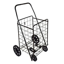 DLUX D801S Folding Shopping Cart (Large, Black) For Grocery/Laundry