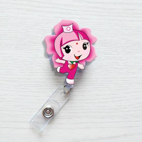 Retractable Badge Exihibiton ID Name Card Cartoon Nurse Doctor Badge Holder Clip