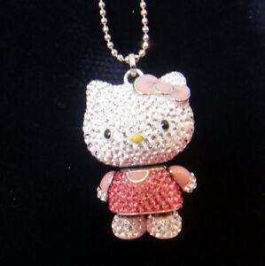 2011-Swarovski-Hello-Kitty-Pink-3D-Pendant-Necklace-Movable-Arms