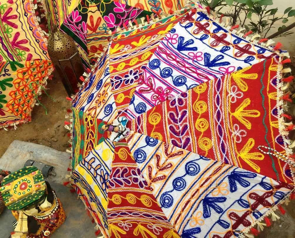 Wholesale 5-PC Indian Handmade Umbrella UV Block Embroidered Sun Shade Parasols