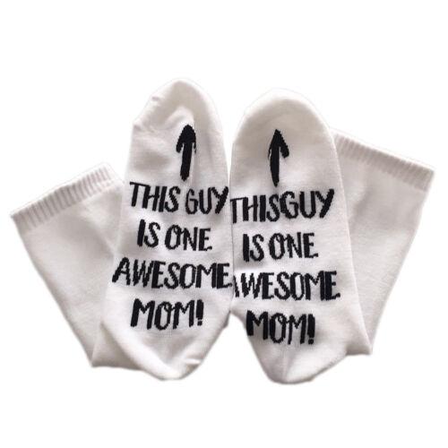 1 Paire ce gars est un super Maman//Papa robe imprimée Chaussettes Casual Hiver Chaud Chaussettes