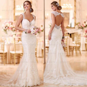 Sexy Open Back Lace Mermaid Wedding Dresses 2019 Bride Dress Beach