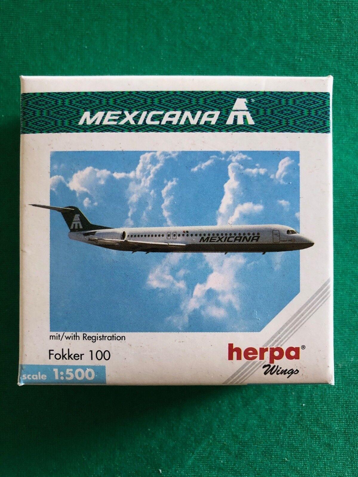 Fokker 100 Mexicana. Herpa Wings 1:500 - Art.-Nr. 509251
