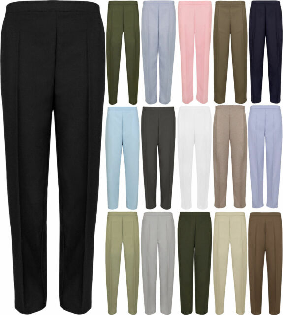 New Ladies Half Elasticated Plus Size Office Black Trousers Pockets Womens Pants