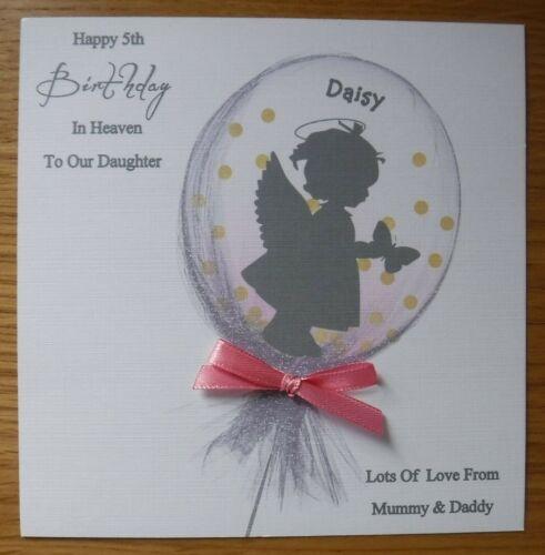ANGEL BALLOON HANDMADE PERSONALISED BIRTHDAY IN HEAVEN CARD