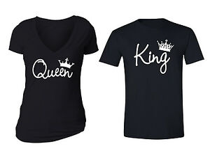 Matching-Couples-Queen-King-Matching-Couple-Vneck-Crewneck-T-shirts-S-5XL