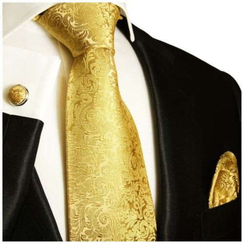 Genuine Paul Malone Gold Silk Tie Pocket Square and Cufflinks