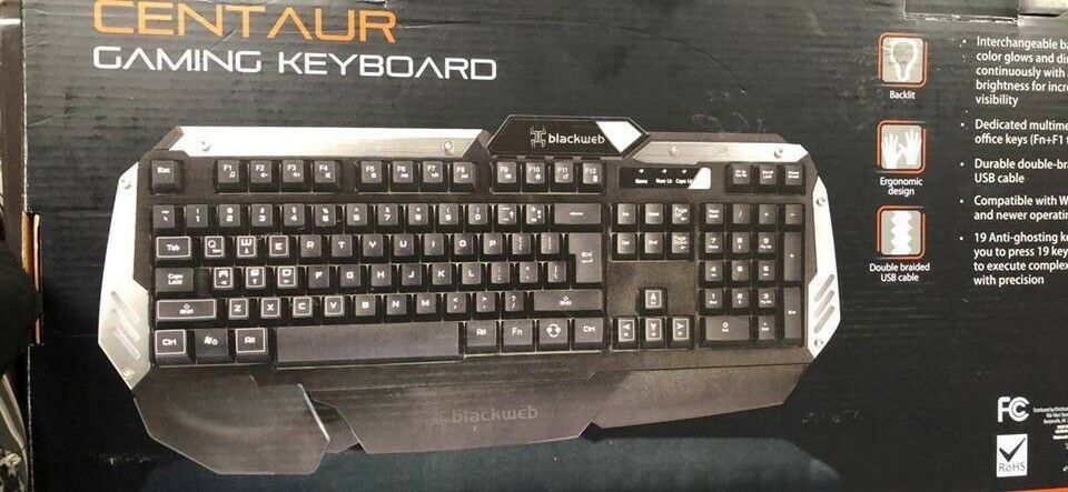 Blackweb Bwa15ho108 Centaur Backlit Gaming Keyboard