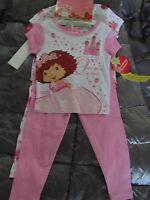 Strawberry Shortcake 2 Sets Short Sleeve Long Pants Cotton Pajamas Girl Sz 4