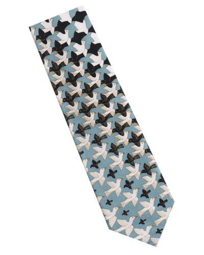 Escher métamorphose Cravate en Soie-Bleu//Noir M.C
