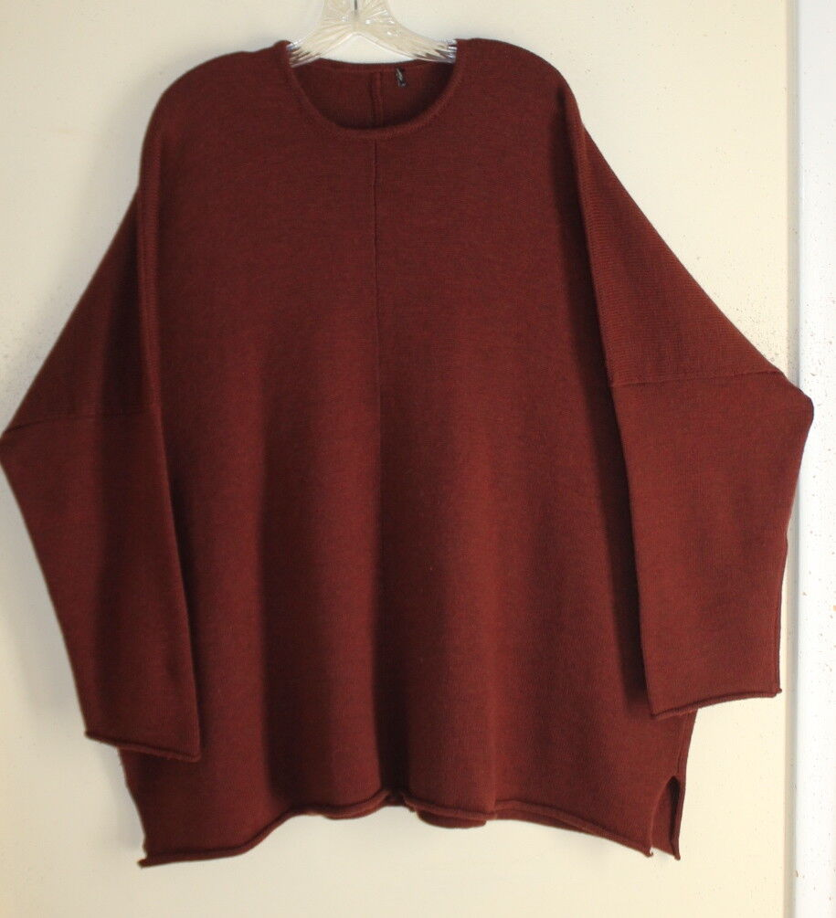 Eskandar O S DARK RUST orange Merino Boxy 29 LONG Tunic Boxy Oversized Sweater