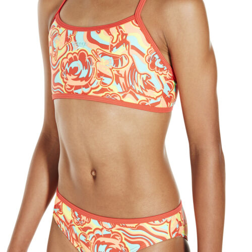 Speedo Colourmelt Allover Crop Top Tankini Girls Two Piece Swimsuit