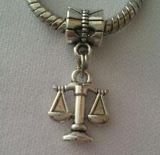 Scales Justice Lawyer Legal Zodiac Libra Dangle Bead fit European Charm Bracelet