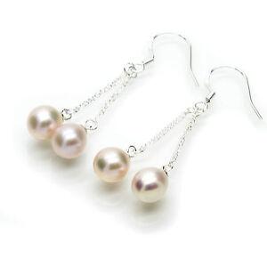 Pearl Drop Earrings White Oval Cultured Freshwater Pearls Sterling Silver Hooks
