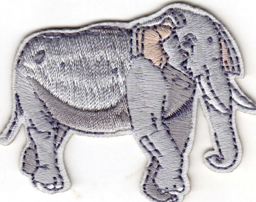 ZOO ANIMAL JUNGLE WILD ANIMALS IRON ON EMBROIDERED PATCH GRAY ELEPHANT