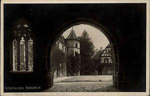 Bebenhausen-Region-Tuebingen-alte-AK-1936-gelaufen-Durchblick-in-den-Schloss-Hof