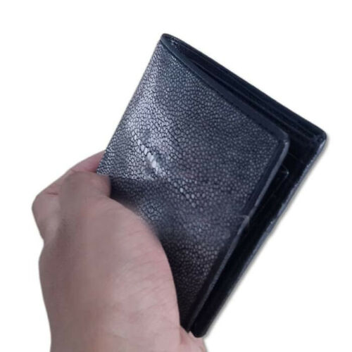 Premium Men Wallet Stingray Skin BLACK POLISH Leather Wallet Bifold Genuine