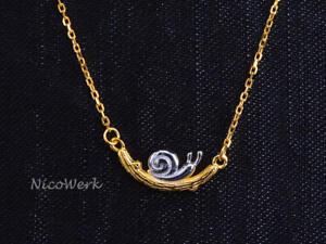 Silberkette-mit-Anhaenger-Schnecke-Golden-Halskette-Damen-925-Silber-Kette