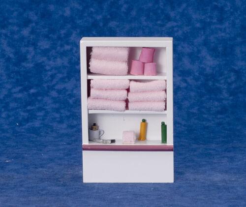 casa de muñecas en miniatura Armario de baño//Estantería Con Fijo Rosa Toallas