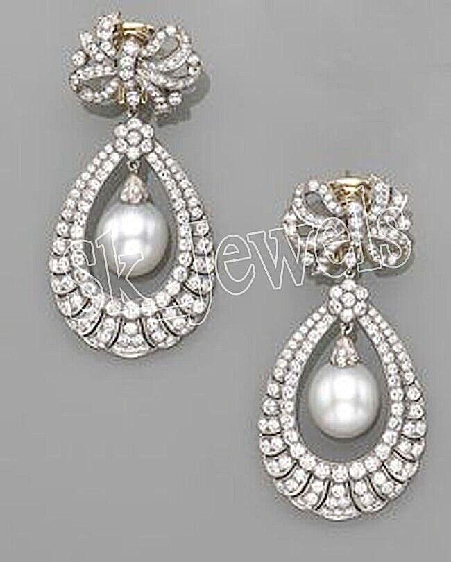 5.44ct NATURAL DIAMOND PEARL 14K WHITE gold WEDDING ANNIVERSARY EARRING