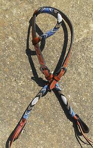 Western-Pferd-Perlen-One-Ear-LEATHER-HEADSTALL-mit-Lila-Gold-Weiss-Friesen