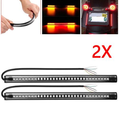 Motorcycle 48 LED Integrated Brake Stop Turn Signal Tail Light Strip Bar 2pcs