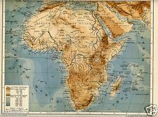1901= AFRICA FISICA = Antica MAPPA Topografica = OLD MAP