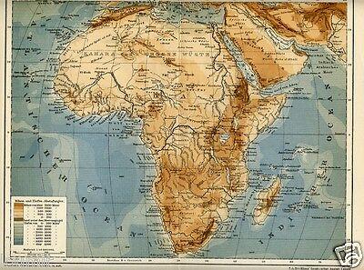 Cartina Geografica Dell Africa Fisica.1901 Africa Fisica Antica Mappa Topografica Old Map Ebay