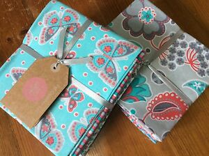 Fantastic-Bundle-Of-6-Craft-FQ-In-100-Cotton-Pink-Turquoise-Butterfly-Design