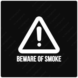Truck Window Decals >> Beware of Smoke Caution Sign Decals Stickers, DIESEL ROLL COAL TRUCK LIFT POWER | eBay