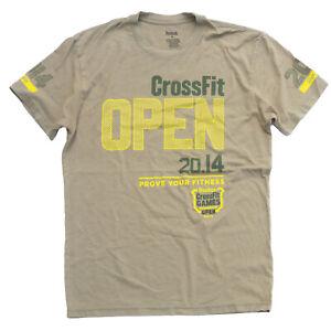 Reebok-Crossfit-Open-2014-Tee-Men-039-s-M-Mustard-Green