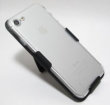 Hybrid Full Body Clear PC Cover Hard Case + BELT CLIP HOLSTER for iPhone 7